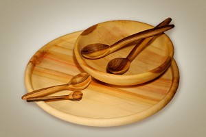 Wooden bowls and plates